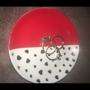 Red with gold heart ring dish
